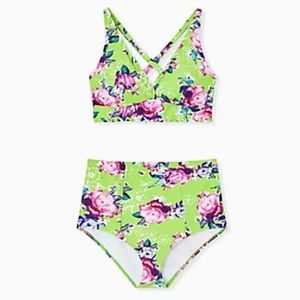 Torrid Neon Green Floral Triangle Bikini Set 1X